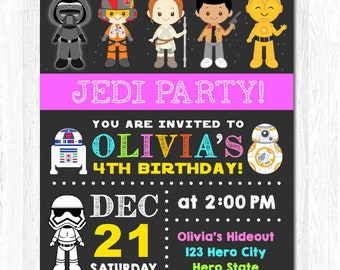 Girl Star wars invitation, Star Wars girl invitation, Force Awaken invitation, Star Wars Party invitation