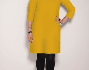 Yellow dress, handmade dress, winter dress, casual dress, dress for women, work dress, fall dress for women, Mustard dress, V neck dress
