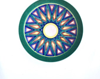 S A L E  Vintage Ibarra La Paz Mexican Pottery Plate, Gorgeous Ibarra LaPaz Hand Painted Mexican Pottery Dinner Plate