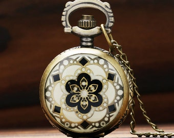 Pocket watch necklace, Pocket watch flower, Antique bronze pocket watch, Vintage pocket watch, Gift for her