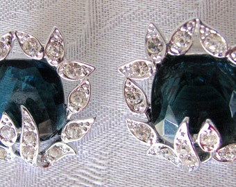 Vintage Earrings Holiday Ice Sarah Coventry Clip Ons Blue Green 1960s