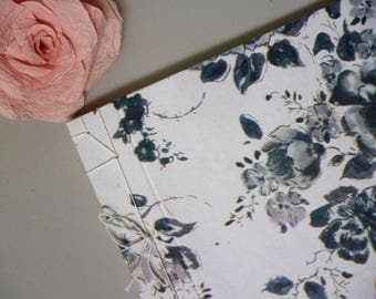 A4 blank book, guestbook, wedding guest book, scrapbook, sketchbook or journal, black and white floral, Japanese stab binding