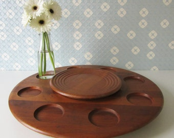 Vintage Wooden Lazy Susan made by Digsmed Danmark 60s 16284
