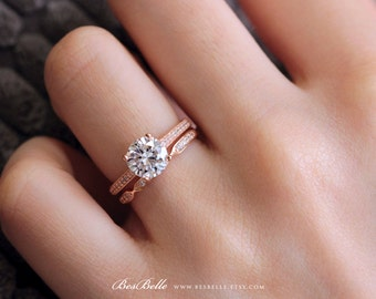 1.92 ct.tw Solitaire Bridal Set Ring-Full Pave Stones Band Ring-Vintage Art Deco Wedding Ring-Rose Gold Plated-Sterling Silver [65406RG-2]