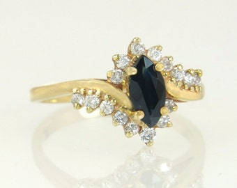 Vintage 14K Gold .92ct Genuine Diamond & Blue Sapphire Engagement Ring 3.1g