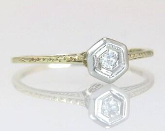 Antique .02ct Genuine Diamond 14K Gold Art Deco Solitaire Engagement Ring