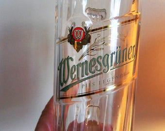 "Vintage Wernesgruner/German/ Tall Beer Mug, Stands 8"" Tall, Bar Ware"