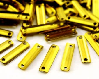 100 pcs 4x15 mm Raw Brass Rectangle Charms