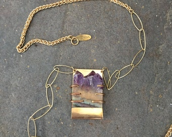 Gold Plated Caged Sliced Amethyst