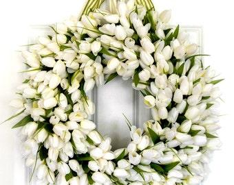White Tulip Wreath | Spring Wreath | Front Door Wreath | Easter Wreath | White Wreath | Mini Tulip Wreath