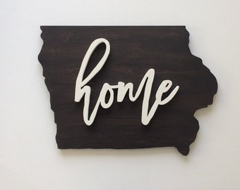 HOME State of Iowa Wood Sign