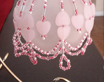 Beaded Valentine Pink Heart ornament bauble cover