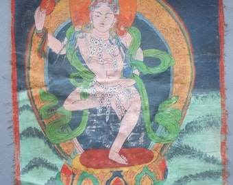 Old Tibetan Thangka Painting with Yogini, Buddhist Painting on Cotton Tibet, Ceremonial Meditation Himalayan Art, FREE SHIPPING