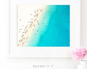 Framed Mediterranean Beach Photo Print // Aerial Beach Photography // Sunbaking People Summer // Large Beach Prints