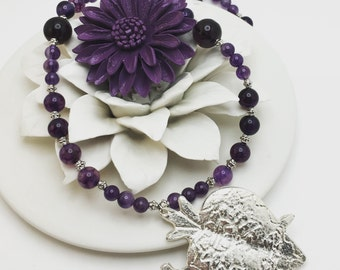 Eye Catching Authentic Mexican Pewter Sacred Heart Purple Beaded Necklace. Very limited availability. Sacred Heart With Sword. Milagros