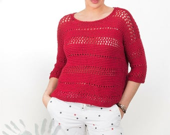 Hand knitted Sweater  / Women's clothing / Cotton Blouse / Soft / Nice / Best Cotton / Summer Sweater / Red Raspberry /Free shipping.
