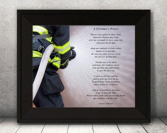 Firemans Prayer, Firefighter Prayer Print, Firefighter wall art, Prayer Print, Inspirational words wall décor, firefighter wall décor gift