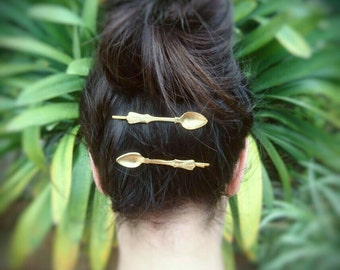 Gold Spoon Bobby Pins Gold Spoon Hair Pins Hair Clips Gold Bobby Pins Spoon Pin Spoon Jewelry Hair Accessories