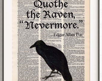 The Raven - Edgar Allan Poe Quote - Book Page - Dictionary Art - Wall Print - Unframed