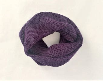 Infinity Scarf Hand Knit, Hand Knitted Scarf, Circle Scarf - Purple (Adult)