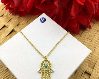 Hamsa Necklace - Hand of Fatima - Evil Eye - Nazar Protection - Evil Eye Protection - High Quality - Perfect Gift