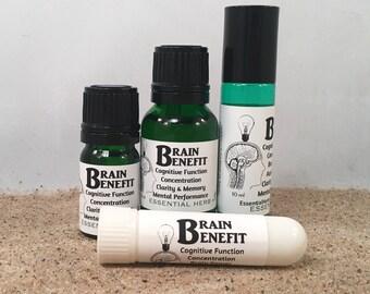 BRAIN BENEFIT Essential Oil Blend, Cognitive Function, Brain Power, Mental Clarity, Mental Performance, Memory, Concentration, Focus,
