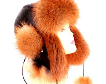 Women's hat ear flaps of fox moth