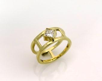 Princess cut diamond engagement rings, square engagement rings, Yellow gold diamond rings, Modern engagement ring, Solitaire diamond ring