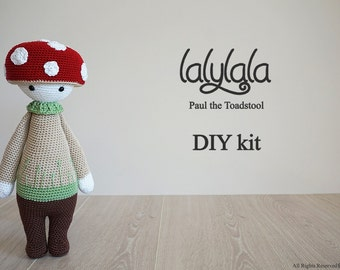 Lalylala Paul the Toadstool with red cap - DIY Crochet Kit - Lalylala pattern - DIY Craft - Christmas gift - Gift for girl - Cotton yarn