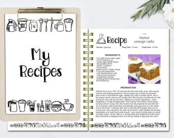 Charming Black And White Recipe Book Template, Editable Recipe Pages, DOC Template, Cookbook  Template