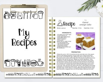 Cookbook template | Etsy