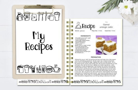 Black and white recipe book template editable recipe pages for Template for recipes in word