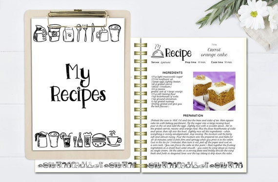 Black And White Recipe Book Template, Editable Recipe Pages, Doc