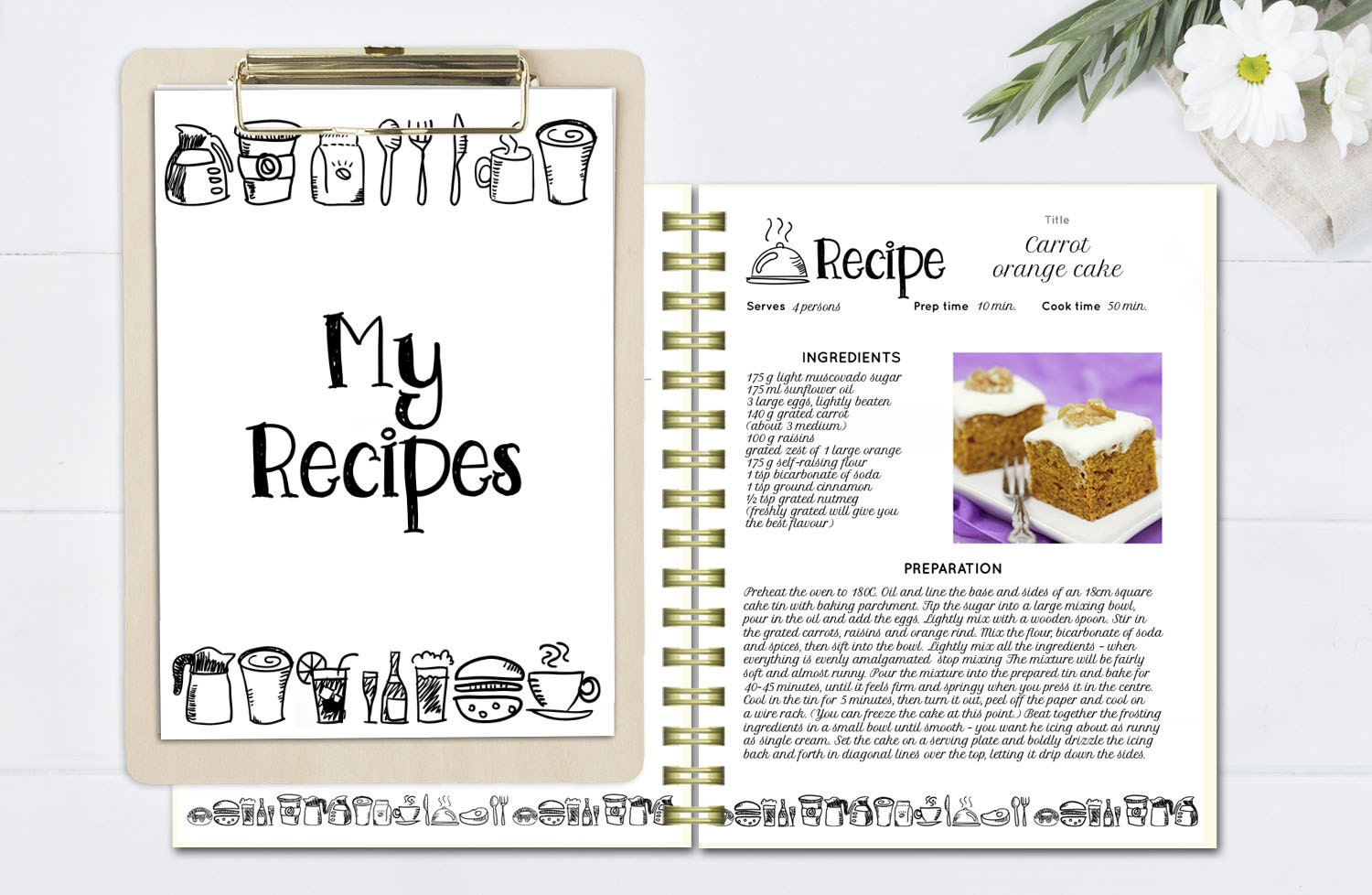 Black and white recipe book template editable recipe for Template for recipes in word