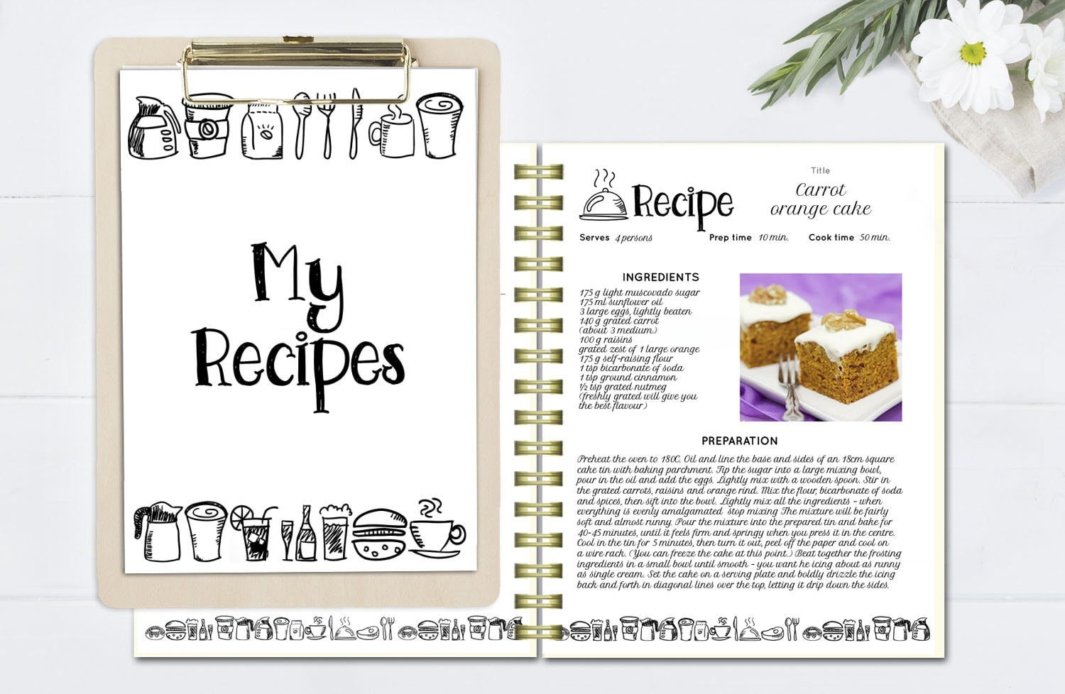 Black and white recipe book template editable recipe for Free online cookbook template