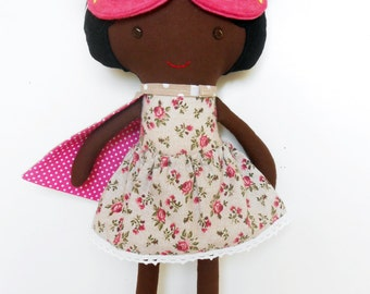 Black super hero girl rag doll, superhero fabric doll, can be personalized, toddler gift, preschool toys for kids, for african american kids