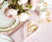 Softened Pink Linen Napkins set of 6 perfect as wedding napkins or dinner napkins