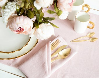 Softened Pink Linen Napkins set of 6