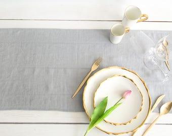 Linen Table Runner handmade of Silver Grey Linen- Wedding Table Decor