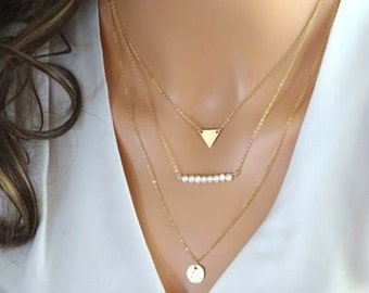 Layering Necklaces set, Disc Necklace, Multi strand Chains, Pearl necklace, triangle necklace in 14kt gold fill, Sterling silver
