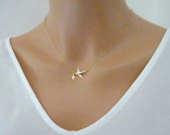 Dove Necklace, Flying bird necklace with tiny Gold cross charm, Baptism necklace, Swallow Necklace, Sparrow necklace Necklace, Baptism gifts