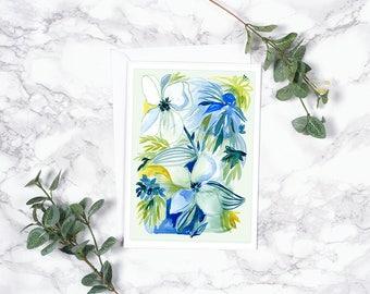 Greeting Card - Blue Floral - Modern Watercolor - Vintage Inspired Flower Notecard