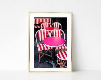 Colorful Decor Art, Paris Photography, Large Wall Art, Cafe Art Decor, Hot Pink Gallery Wall Prints, Kitchen Art, Paris Color