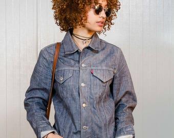 Grunge vintage 90s denim jacket / Gray Trucker Levi's jean jacket / Gray Levi's denim jacket / Women's and Men's denim jacket / Size S