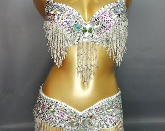FREE SHIPPING Hand Beaded Belly Dancing Samba Costume silver color bra belt 2pcs tf1618