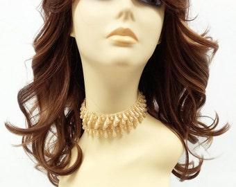 17 inch Strawberry Blonde Auburn  Long Wavy Wig w/ Bangs. Heat Resistant Synthetic Fashion Wig. [99-485-Silvia-27/30/33]