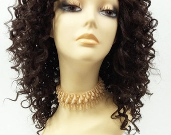 14 Inch Lace Front Dark Brown Curly Wig. Small Spiral Curls. Heat Resistant Synthetic Fashion Wig. [112-519-Flora-4]