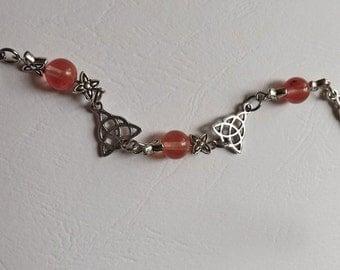 Bracelet Celtique Triquetra et Tourmaline Rose