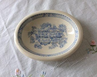 Masons ironstone, vintage soap dish, blue and white, blue transferware, retro bathroom, shabby chic home, country cottage, English ironstone