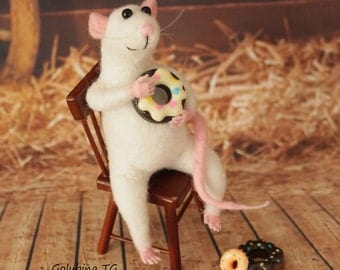 White Mouse with sweets on the chair Needle felting wool rat Home decor interior Gift collection toy Rat sculpture figure mouse